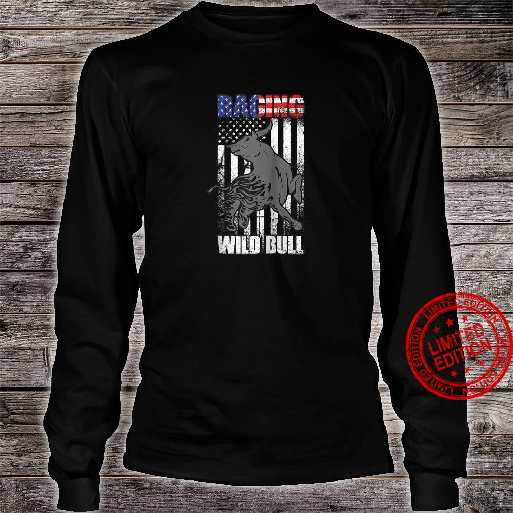 American Flag Bull Rodeo Cowboy Western Country Wild Retro Shirt long sleeved