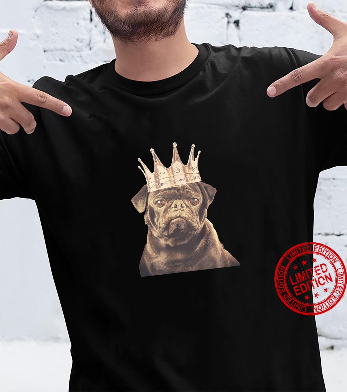 Black Pug Wearing Crown Design Shirt