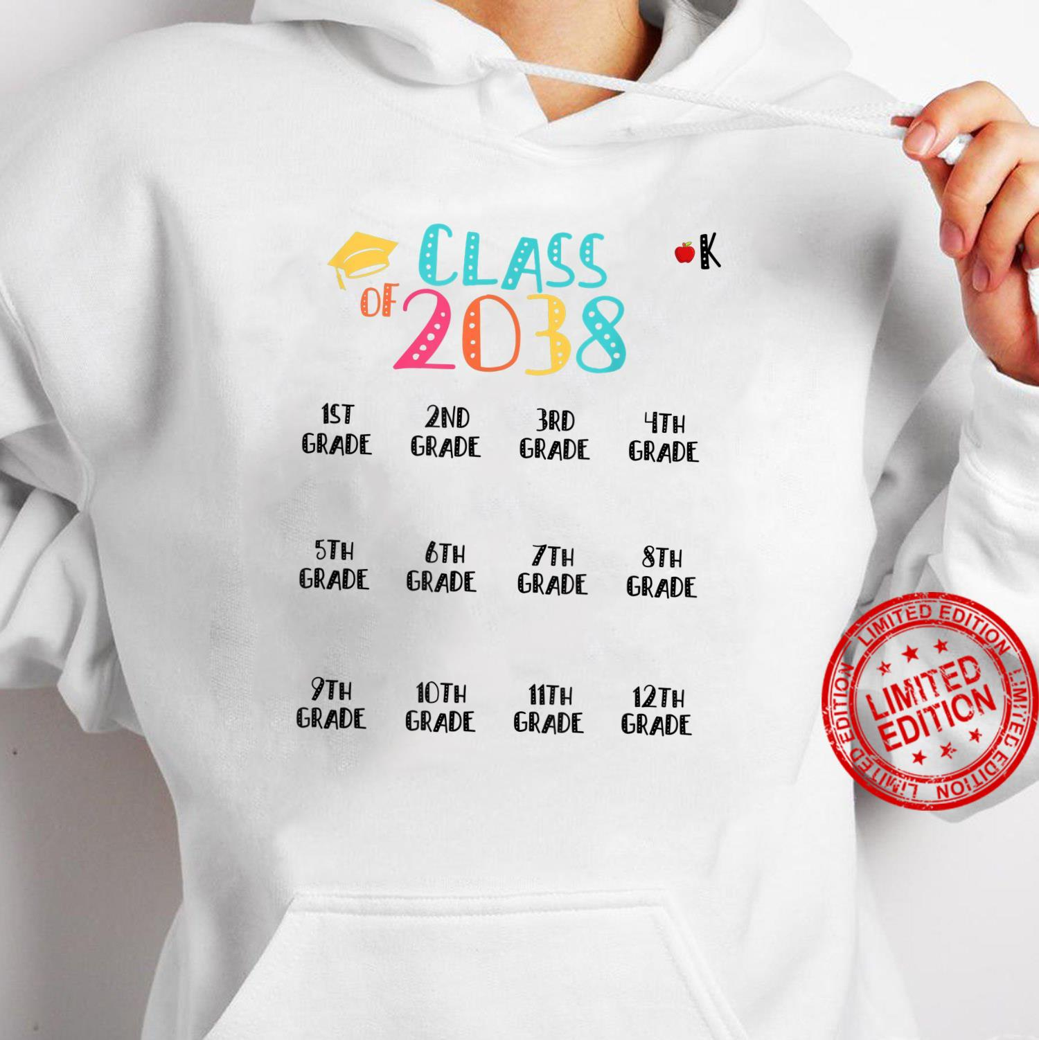 Class of 2038 Grow With Me Shirt With Space For Checkmarks Shirt hoodie