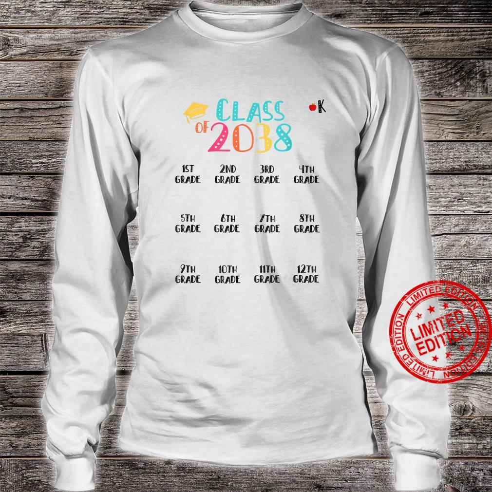 Class of 2038 Grow With Me Shirt With Space For Checkmarks Shirt long sleeved