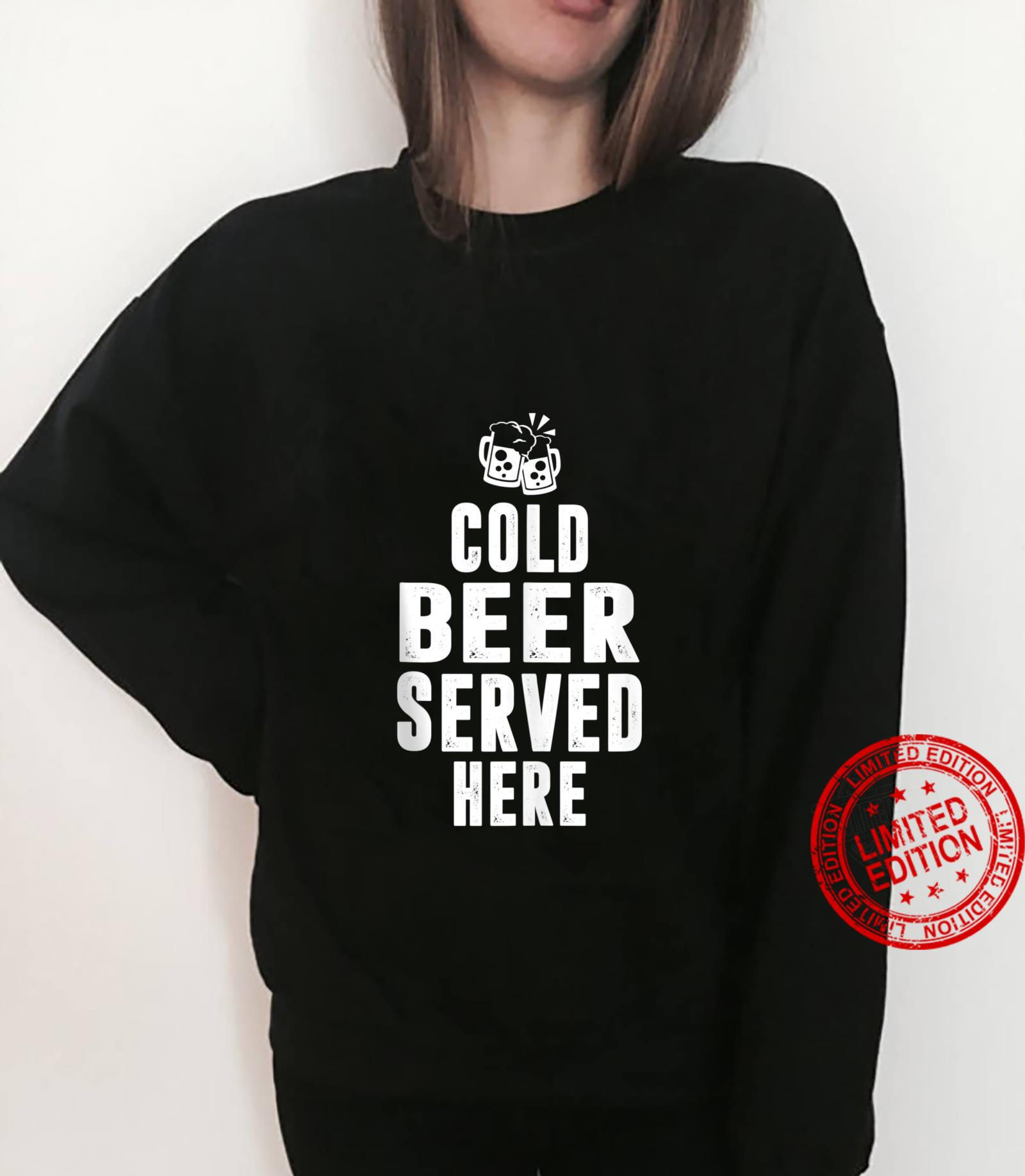 Cold beer served here colorful beer toast design Shirt sweater