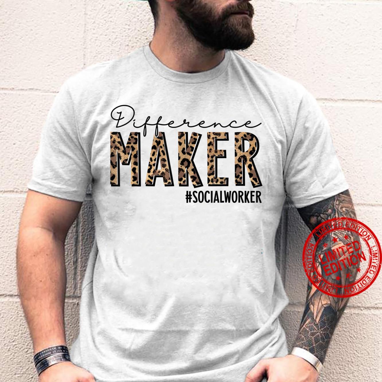 Difference Maker Social Worker Leopard Social Woker Shirt