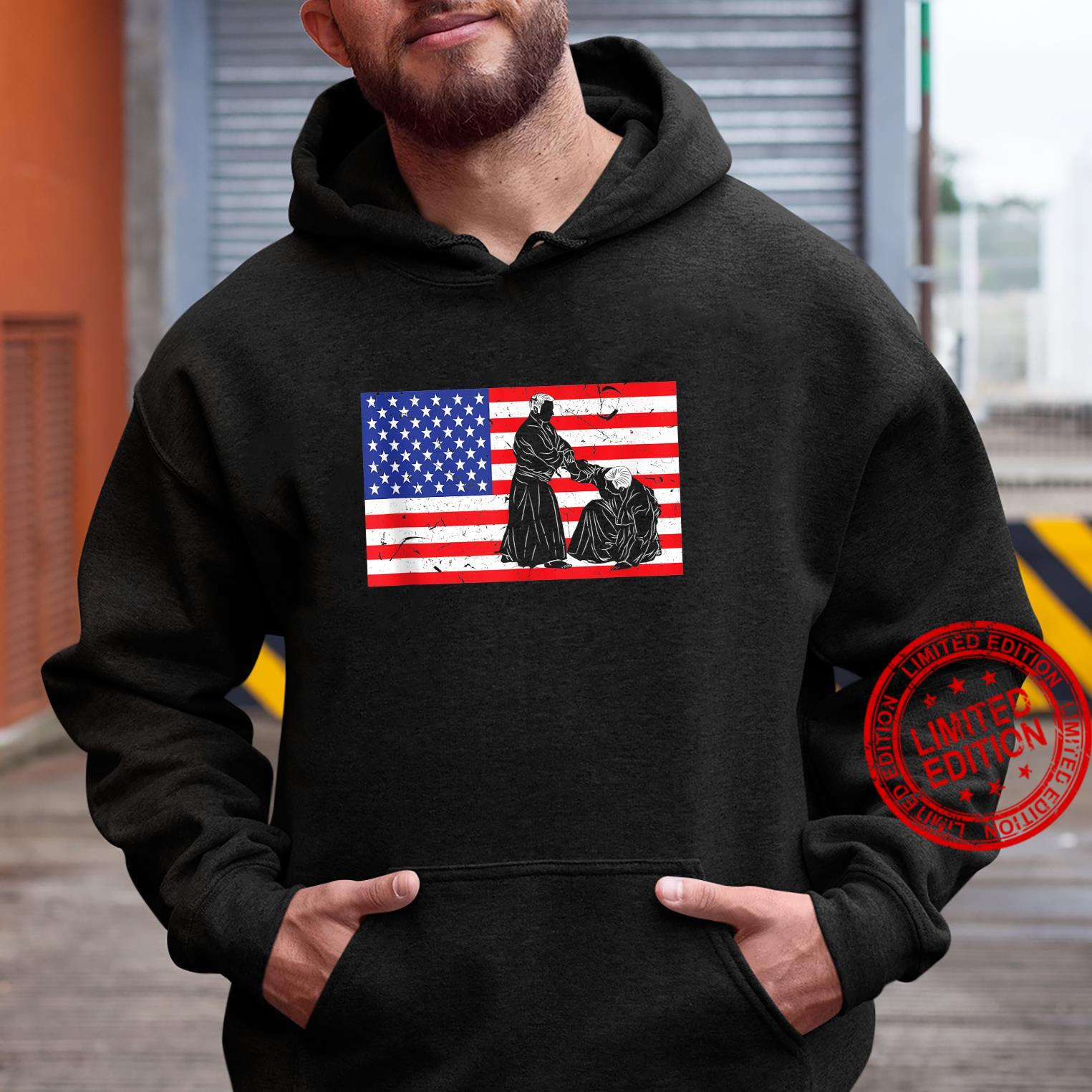 Distressed Aikido USA American Flag Vintage Japanese Fighter Shirt hoodie