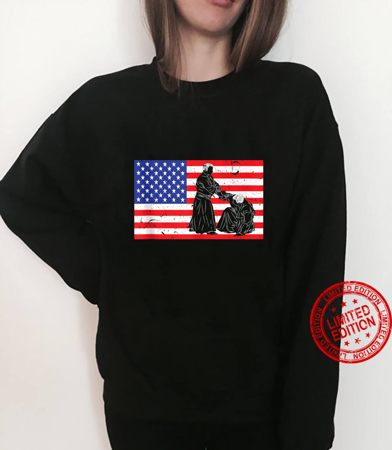 Distressed Aikido USA American Flag Vintage Japanese Fighter Shirt sweater