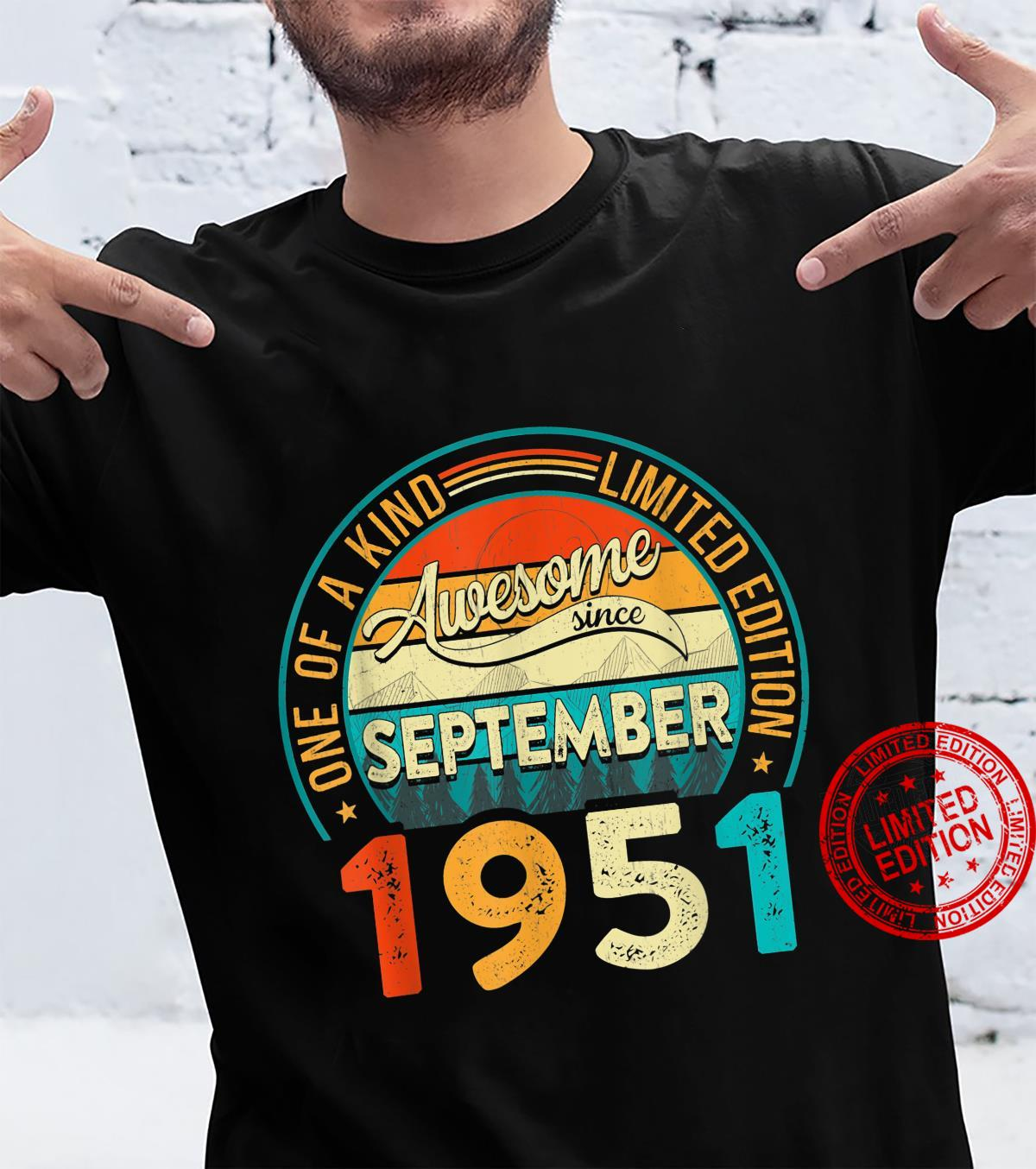 Distressed Vintage Awesome Since September 1951 70 Years Old Shirt