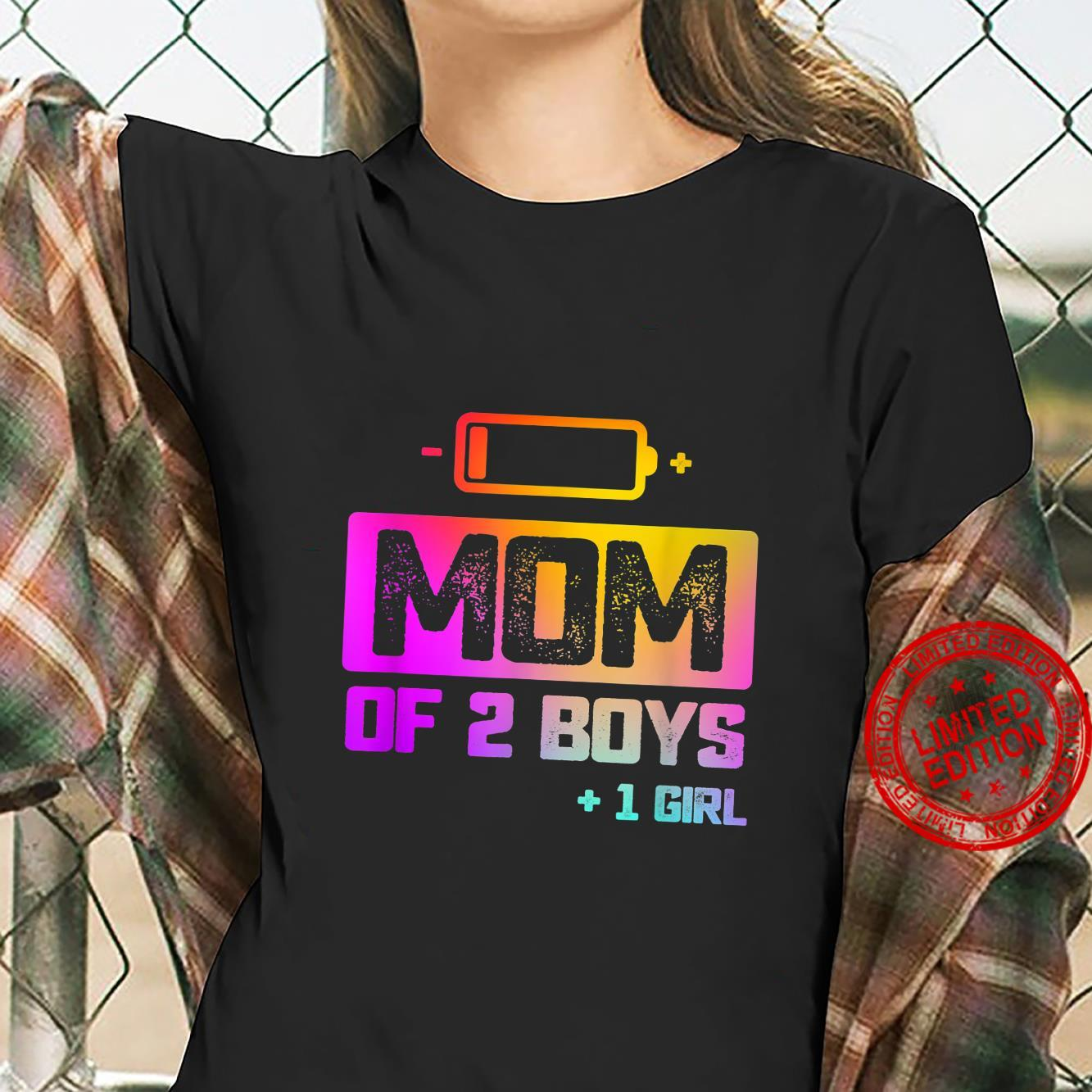 Funny Mom of 2 Boys 1 Girl Low Battery Shirt ladies tee