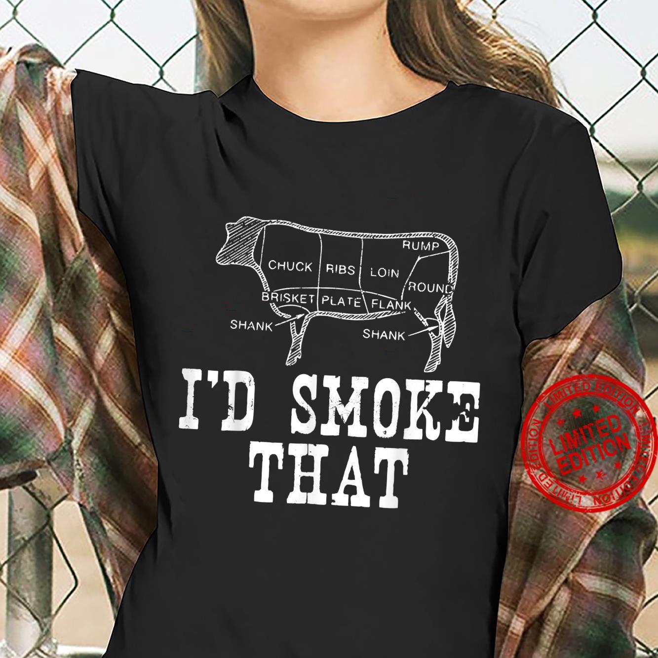 Grilling I'd Smoke That Cow Smoking BBQ Food Pun Shirt ladies tee