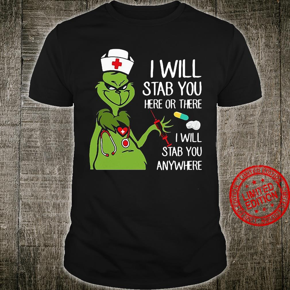 Grinch Nurse I will stab you here or there I will stab you anywhere Men T-Shirt
