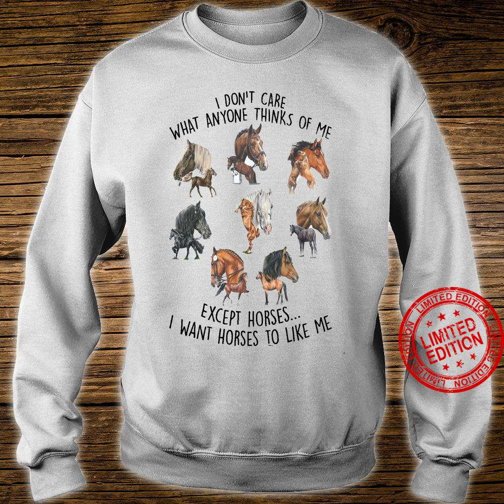 I Don't Care What Anyone Thinks Of Me Except Horses I Want Horses To Like Me Shirt sweater