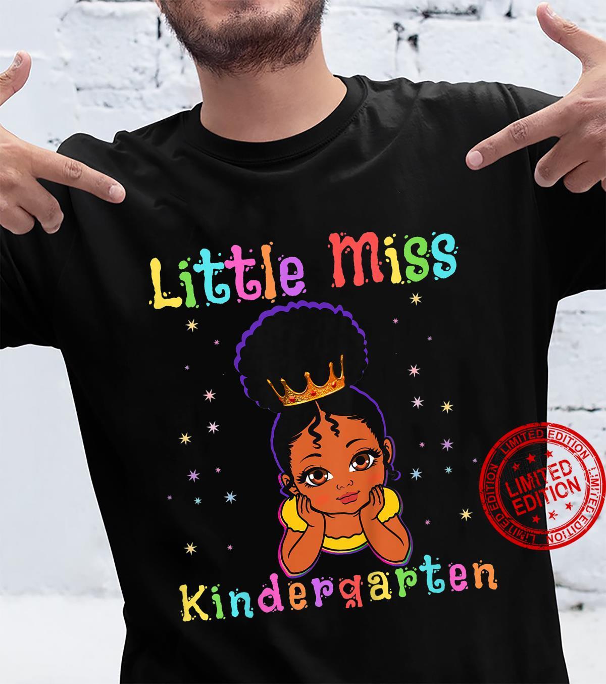Kids Little Miss Kindergarten Princess Toddler Girl Melanin Girls Shirt