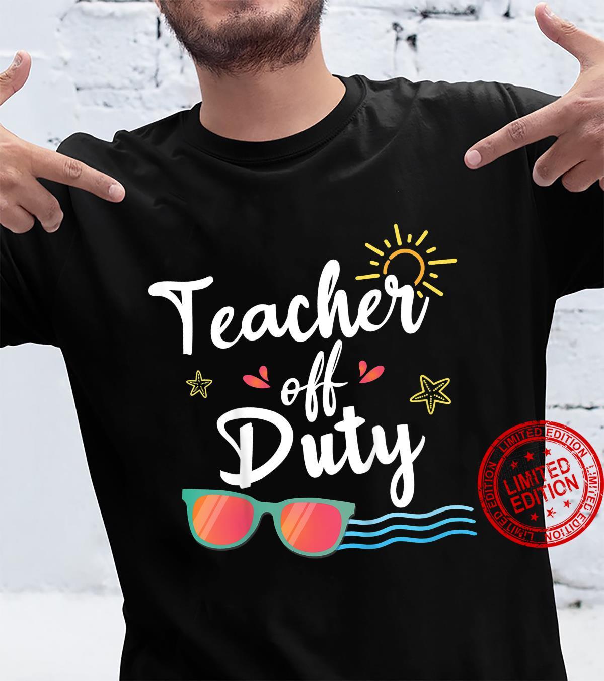 Kids Teacher Off Duty, Sunglasses Beach SunsetSchool Teaching Shirt