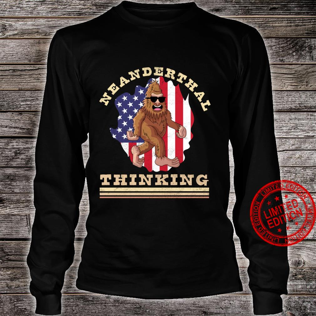Neanderthal Thinking for Proud Neanderthals American Flag Shirt long sleeved