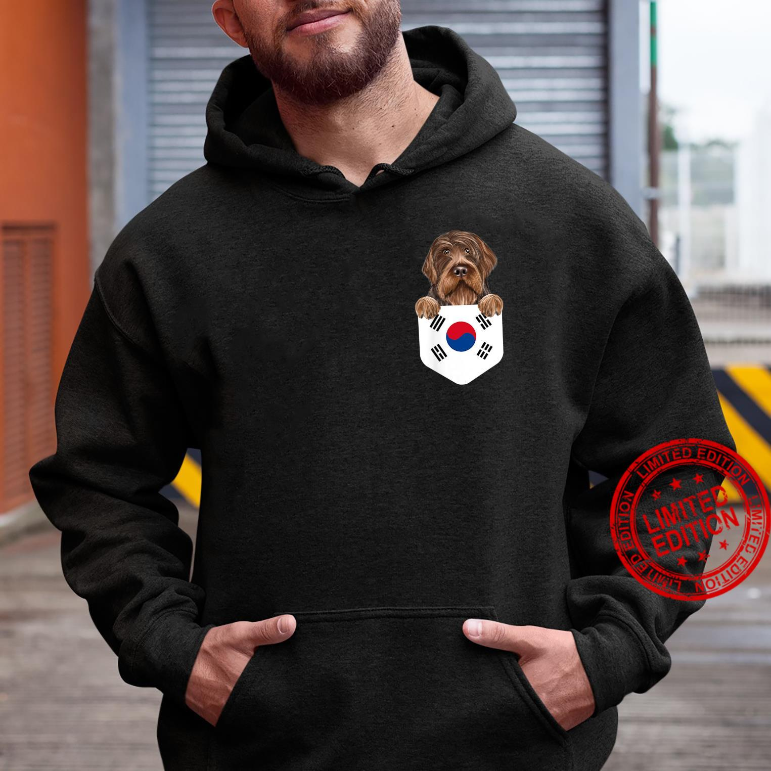 South Korea Flag Wirehaired Pointing Griffon Dog In Pocket Shirt hoodie