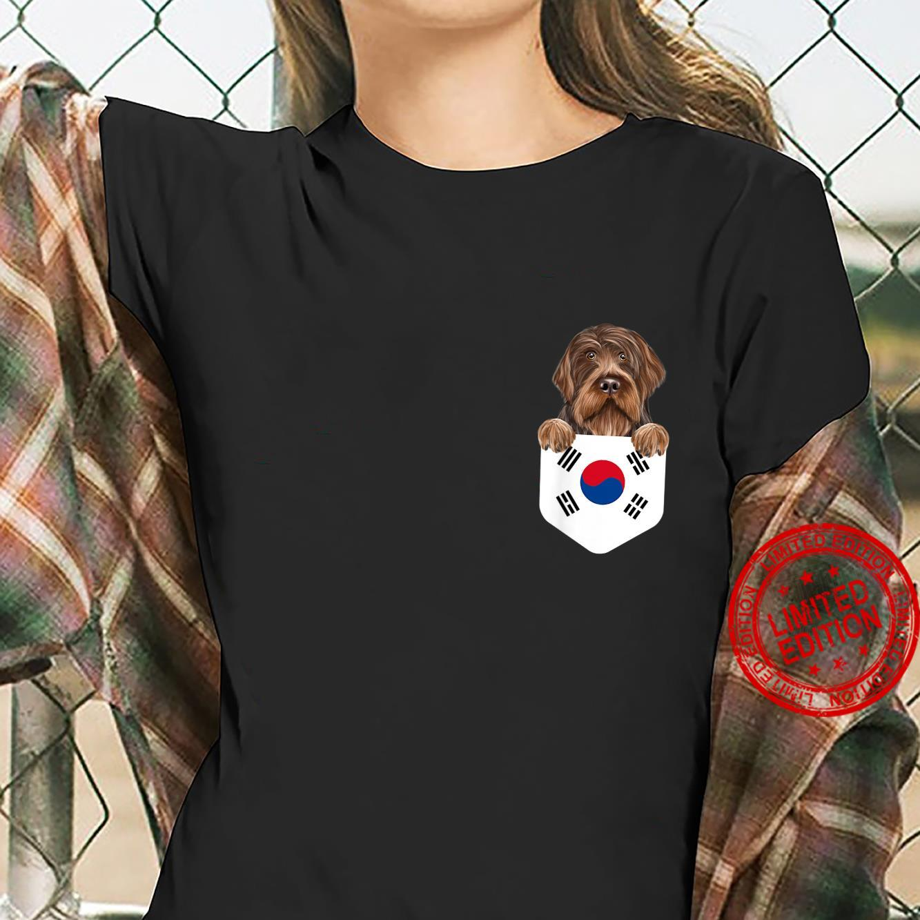 South Korea Flag Wirehaired Pointing Griffon Dog In Pocket Shirt ladies tee