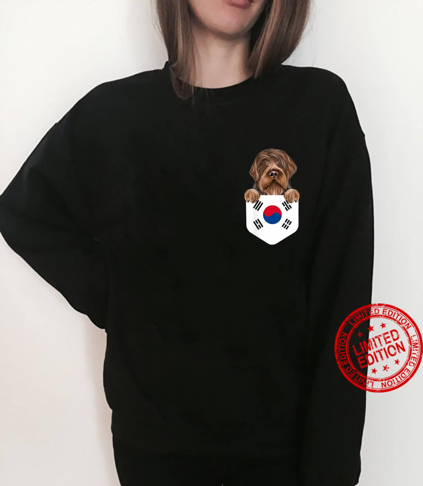 South Korea Flag Wirehaired Pointing Griffon Dog In Pocket Shirt sweater