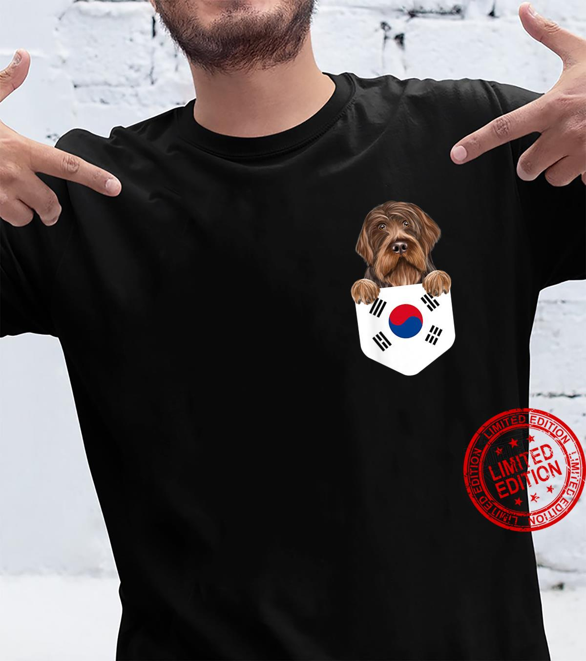 South Korea Flag Wirehaired Pointing Griffon Dog In Pocket Shirt