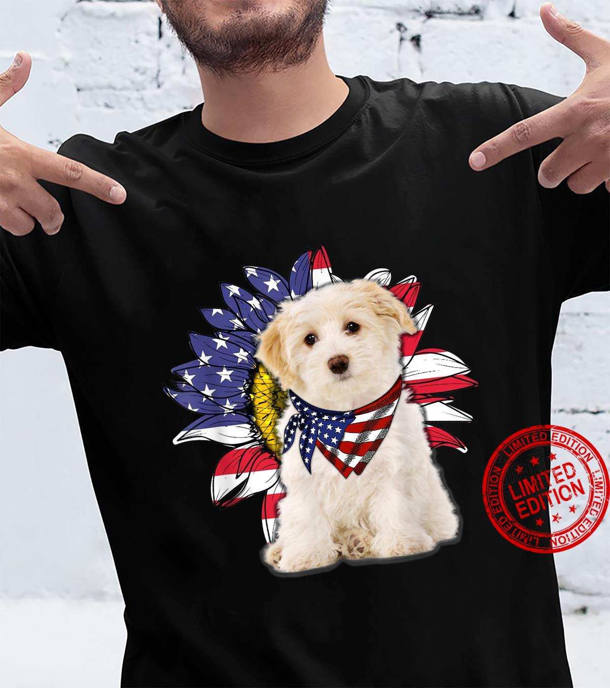 Sunflower American Flag Bichon Frise Dogs Owners Shirt