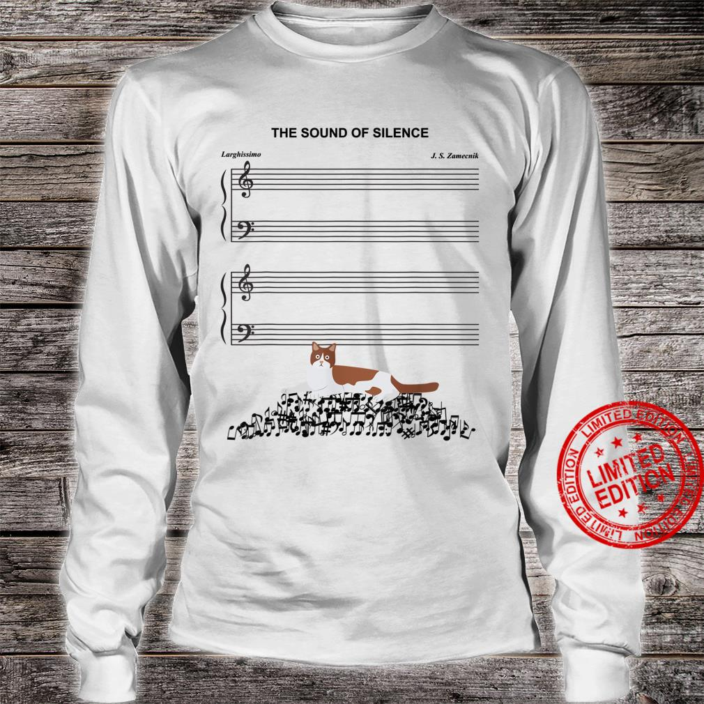 The Sound Of Silence Music And Cat Shirt long sleeved