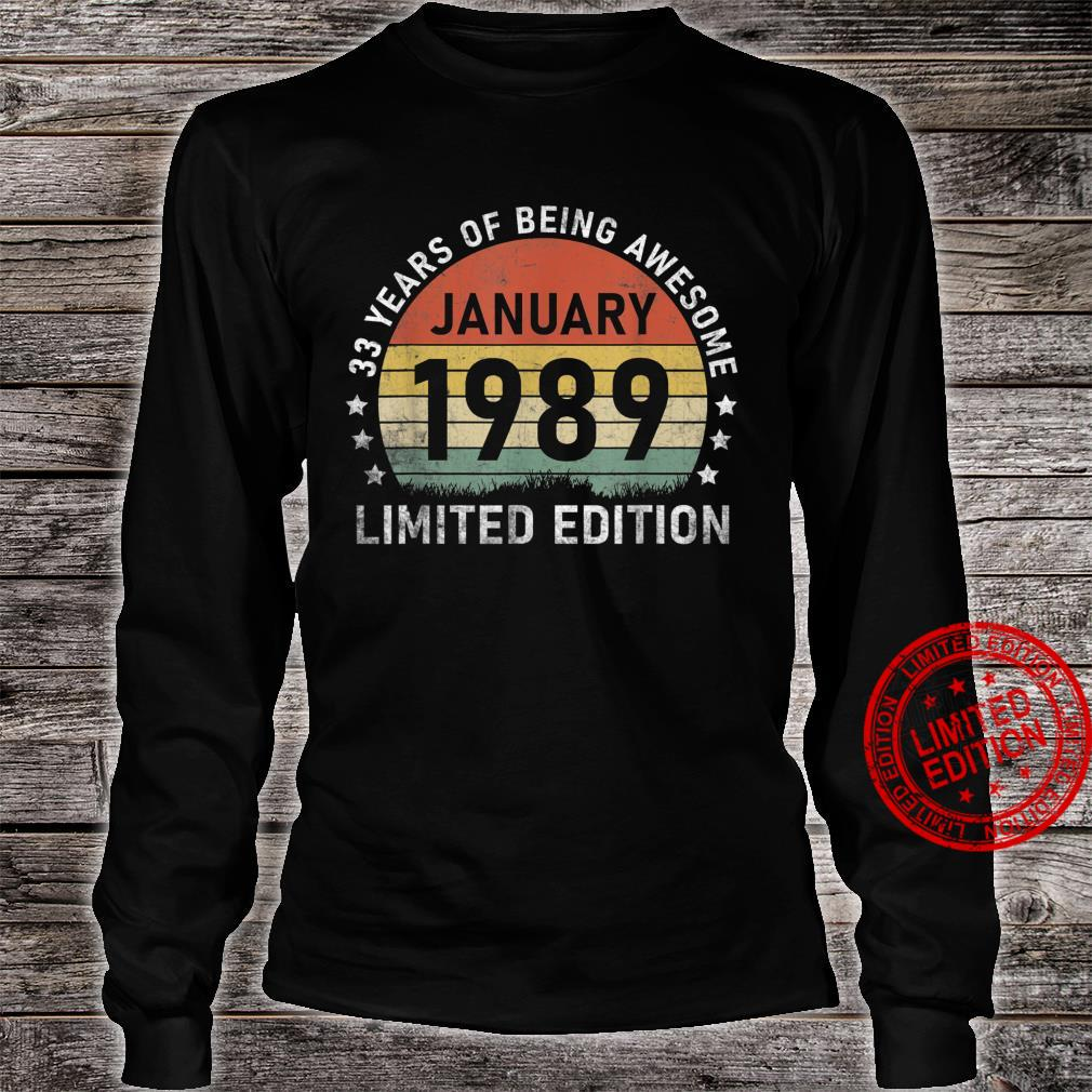 Vintage January 1989 Retro 33 Years Old 33rd Birthday Shirt long sleeved