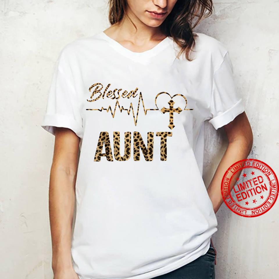 Women Blessed Aunt Mothers Day Grandma Leopard Shirt ladies tee