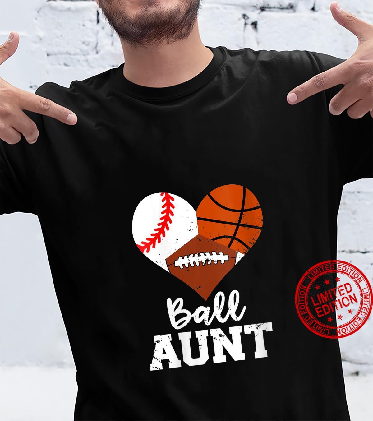 Womens Ball Aunt Baseball Basketball Football Sport Aunt Shirt