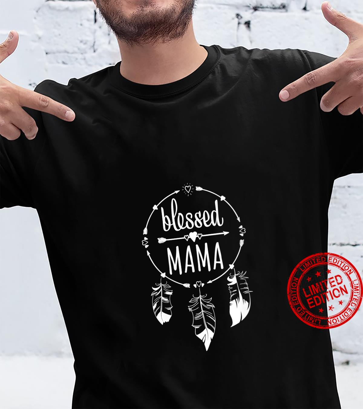 Womens Blessed Mama Mother's Day for Mommy Dream Catcher Shirt