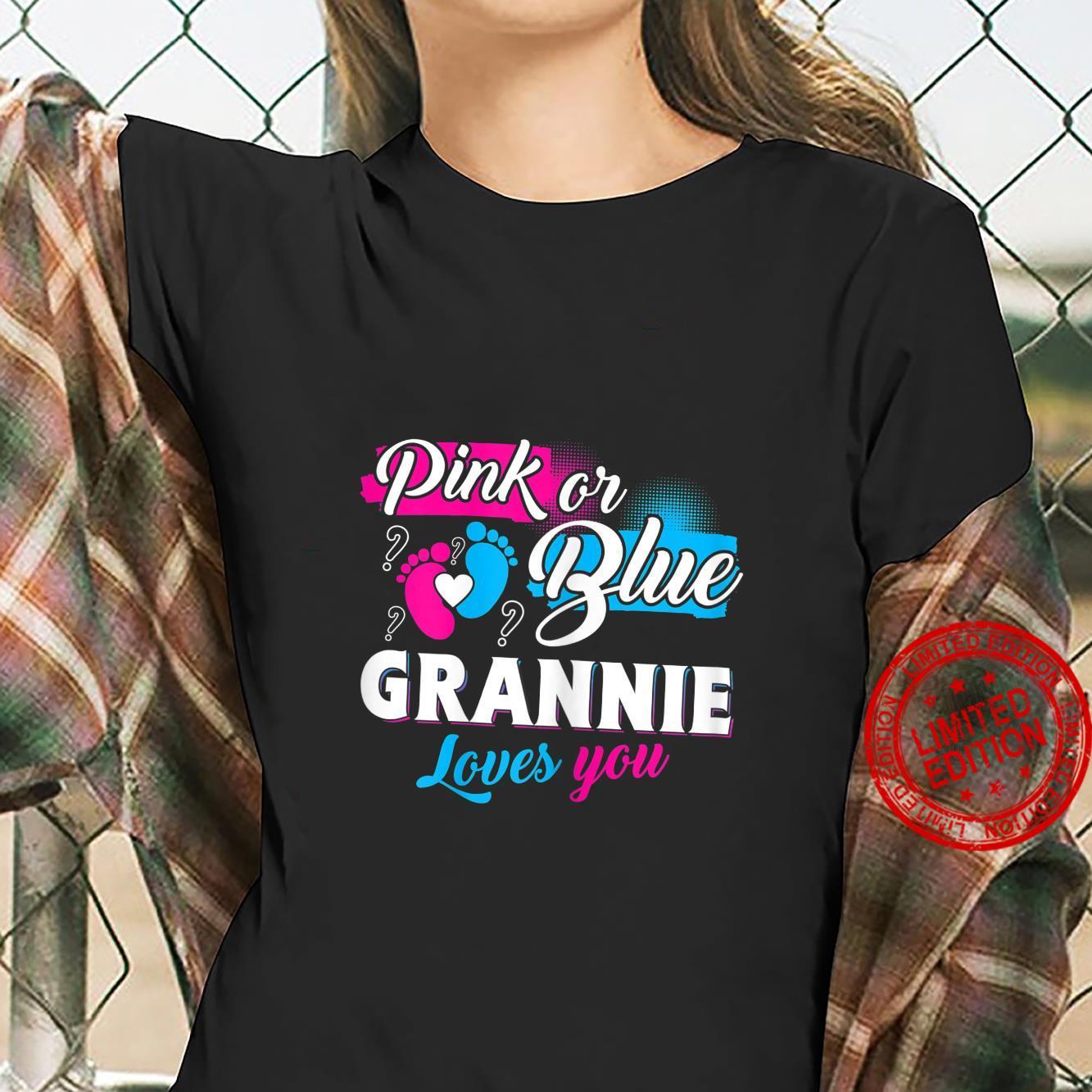 Womens Cute Pink Or Blue Grannie Loves You Gender Reveal Shirt ladies tee