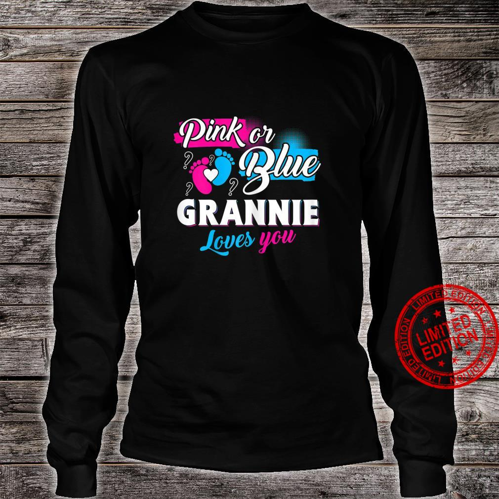 Womens Cute Pink Or Blue Grannie Loves You Gender Reveal Shirt long sleeved