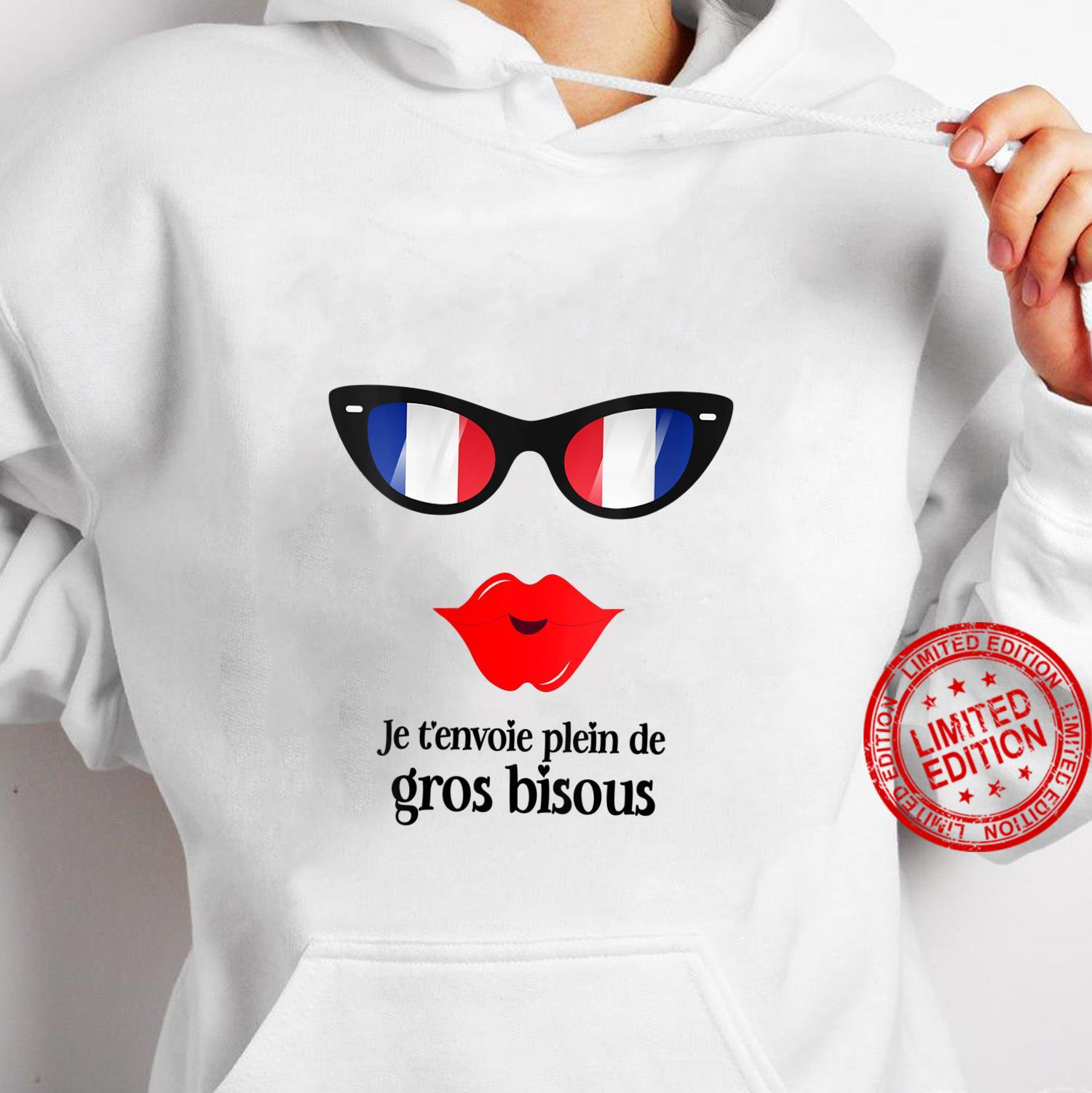 Womens French Flag France Gros Bisous Sunglasses & Lips Shirt hoodie