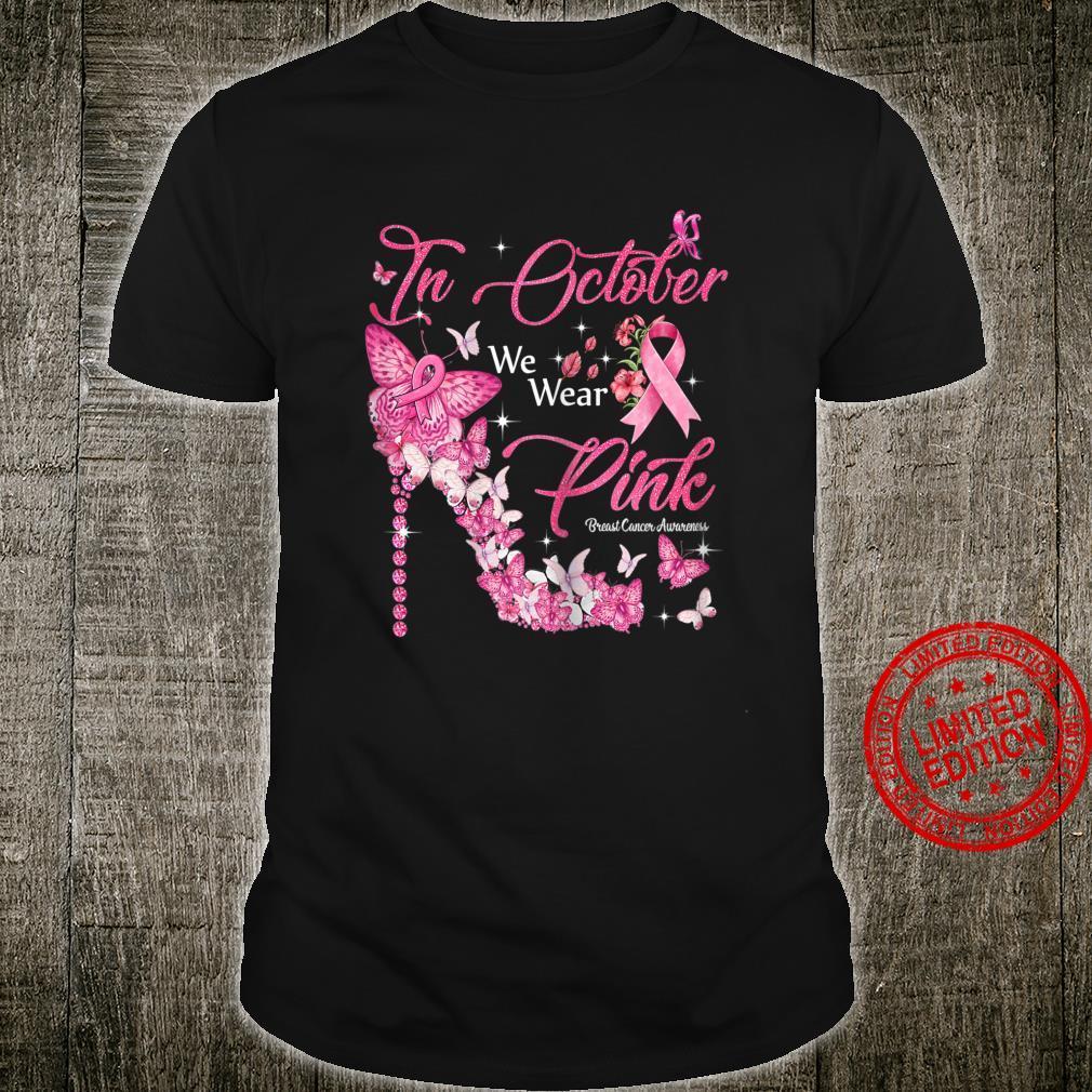 Womens In October We Wear Pink Butterflies Breast Cancer Awareness Shirt