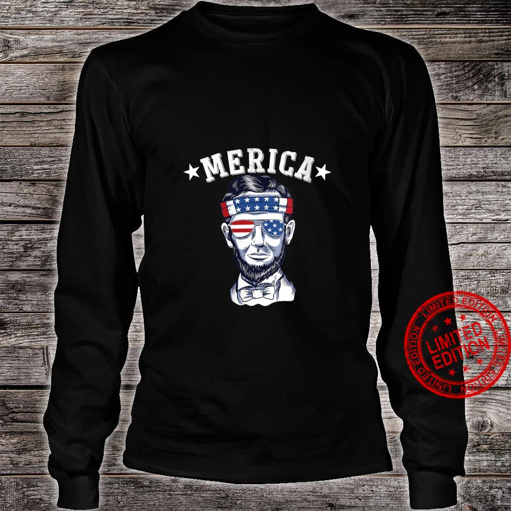 Womens Merica Abraham Lincoln 4th Of July Shirt long sleeved