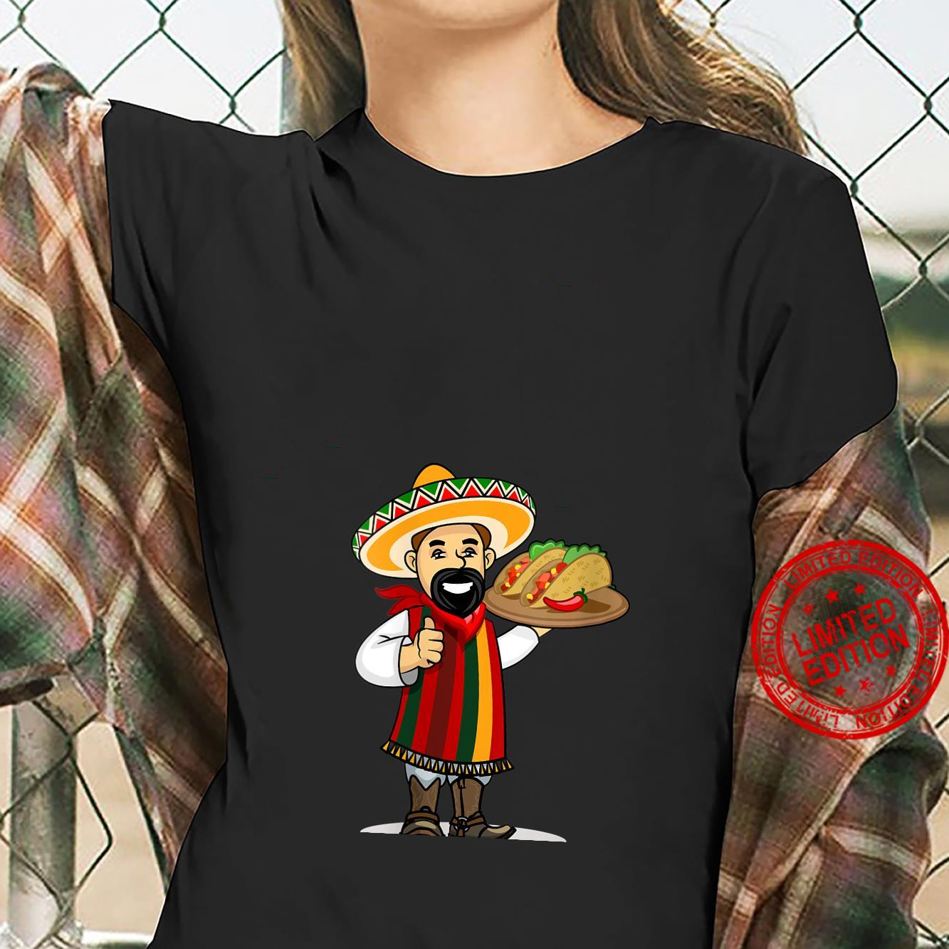 Womens Mexican with Tacos Wearing a Sarape and Sombrero Shirt ladies tee