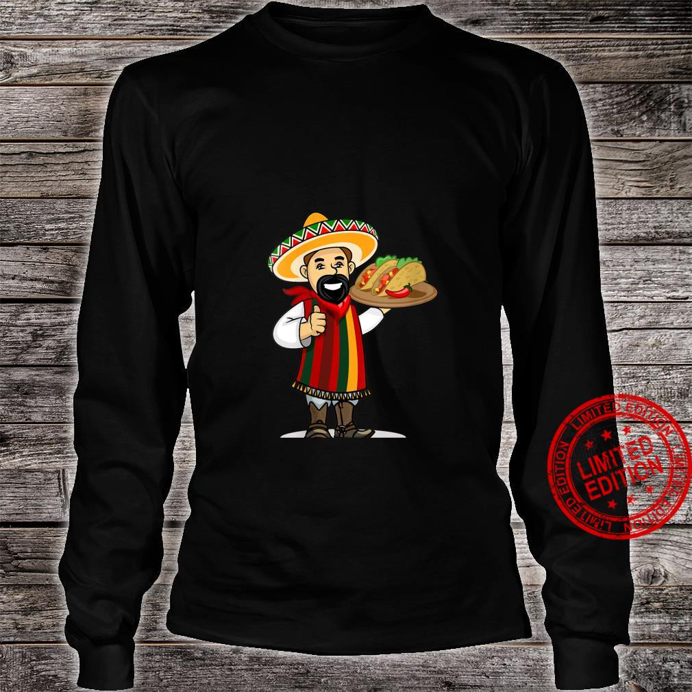 Womens Mexican with Tacos Wearing a Sarape and Sombrero Shirt long sleeved