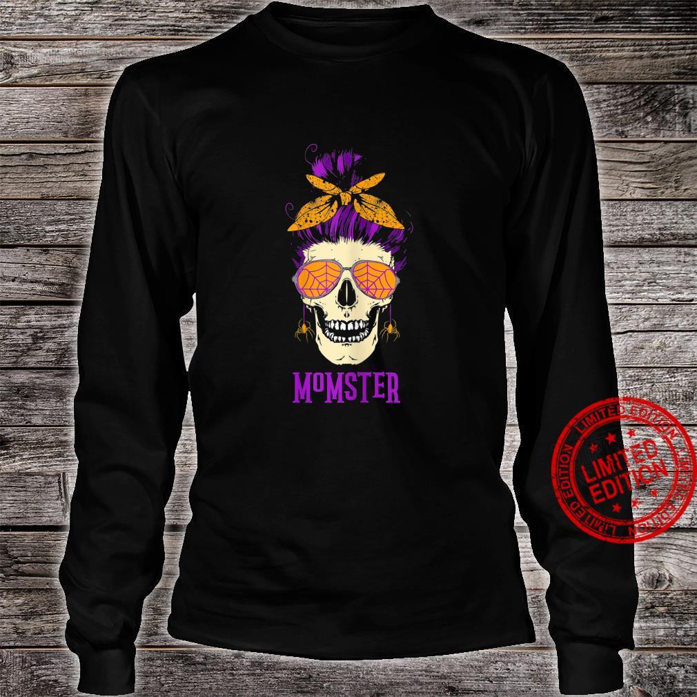 Womens Momster Messy Bun Skull Halloween Mom Shirt long sleeved