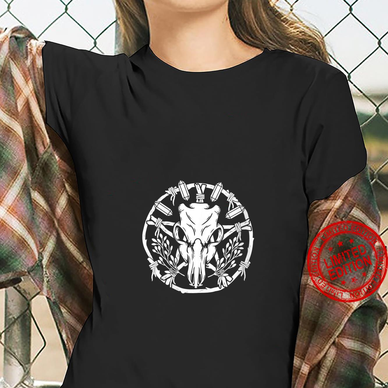 Womens Wiccan Nature Witch Wreath With Animal Skull Crystals & Herb Shirt ladies tee