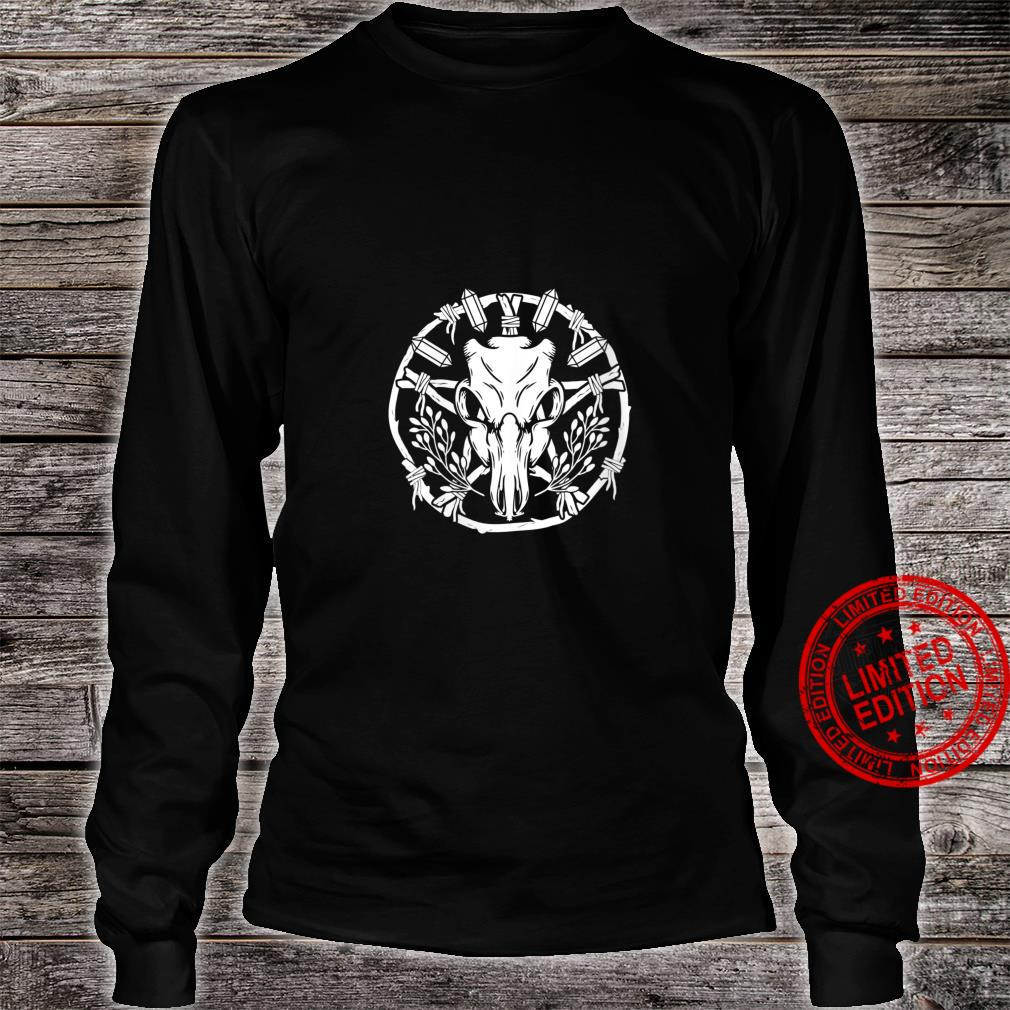 Womens Wiccan Nature Witch Wreath With Animal Skull Crystals & Herb Shirt long sleeved