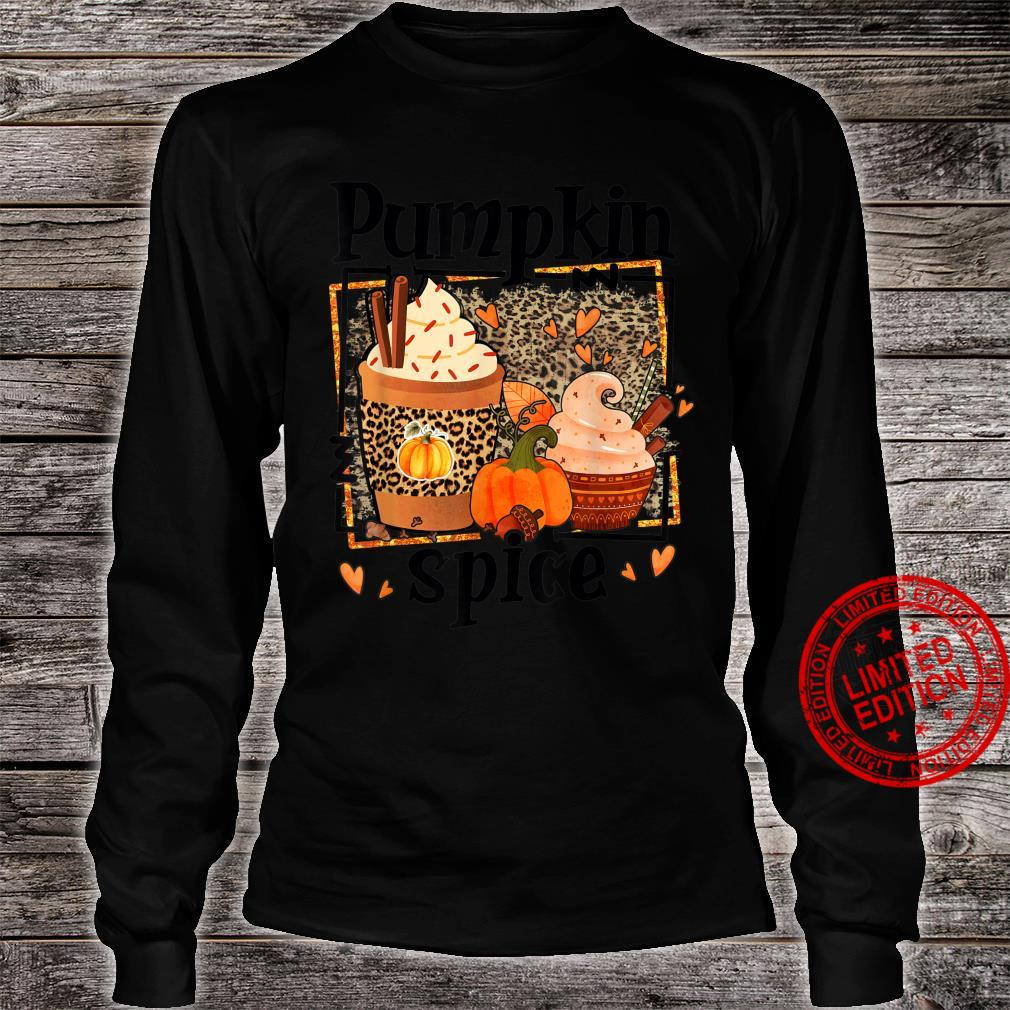 ZyVb Leopard Pumpkin Spice Fall Autumn Pumpkin Thankful Shirt long sleeved