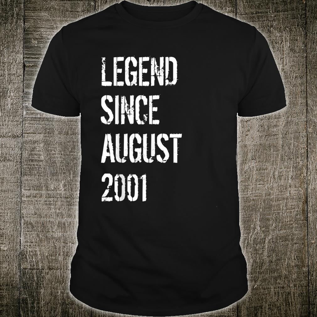 18th Birthday Born in August 2001 Shirt