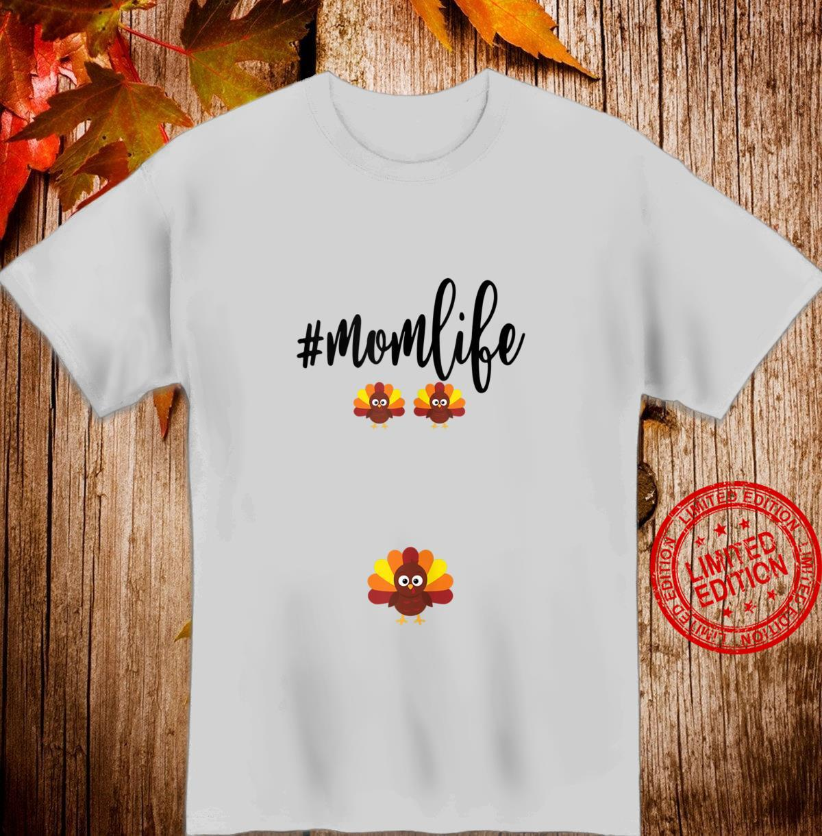 3 Mom Life Thanksgiving Pregnancy Announcement Reveal Shirt