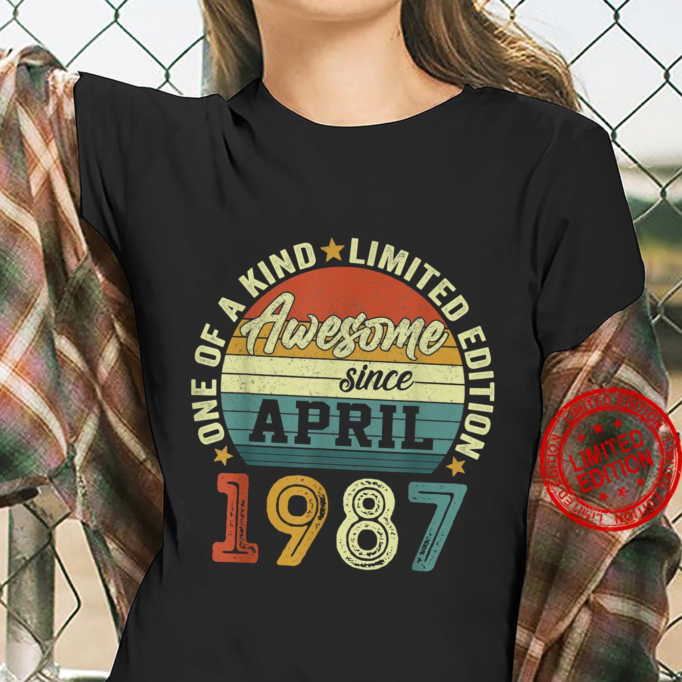 34 Years Old Birthday Awesome Since April 1987 34th Birthday Shirt ladies tee