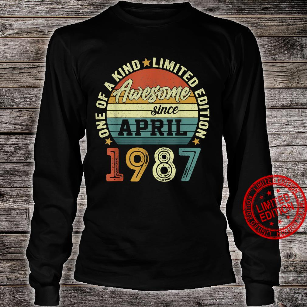 34 Years Old Birthday Awesome Since April 1987 34th Birthday Shirt long sleeved