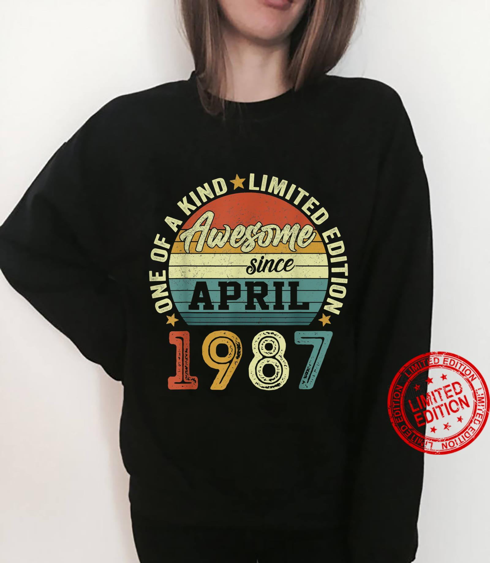 34 Years Old Birthday Awesome Since April 1987 34th Birthday Shirt sweater