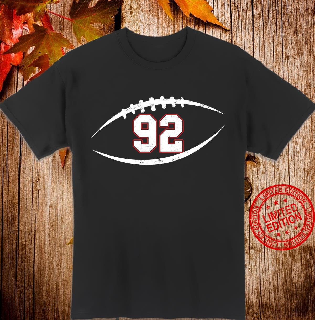 92 Number Vintage Football Player 92 Lucky Number Birthday Shirt