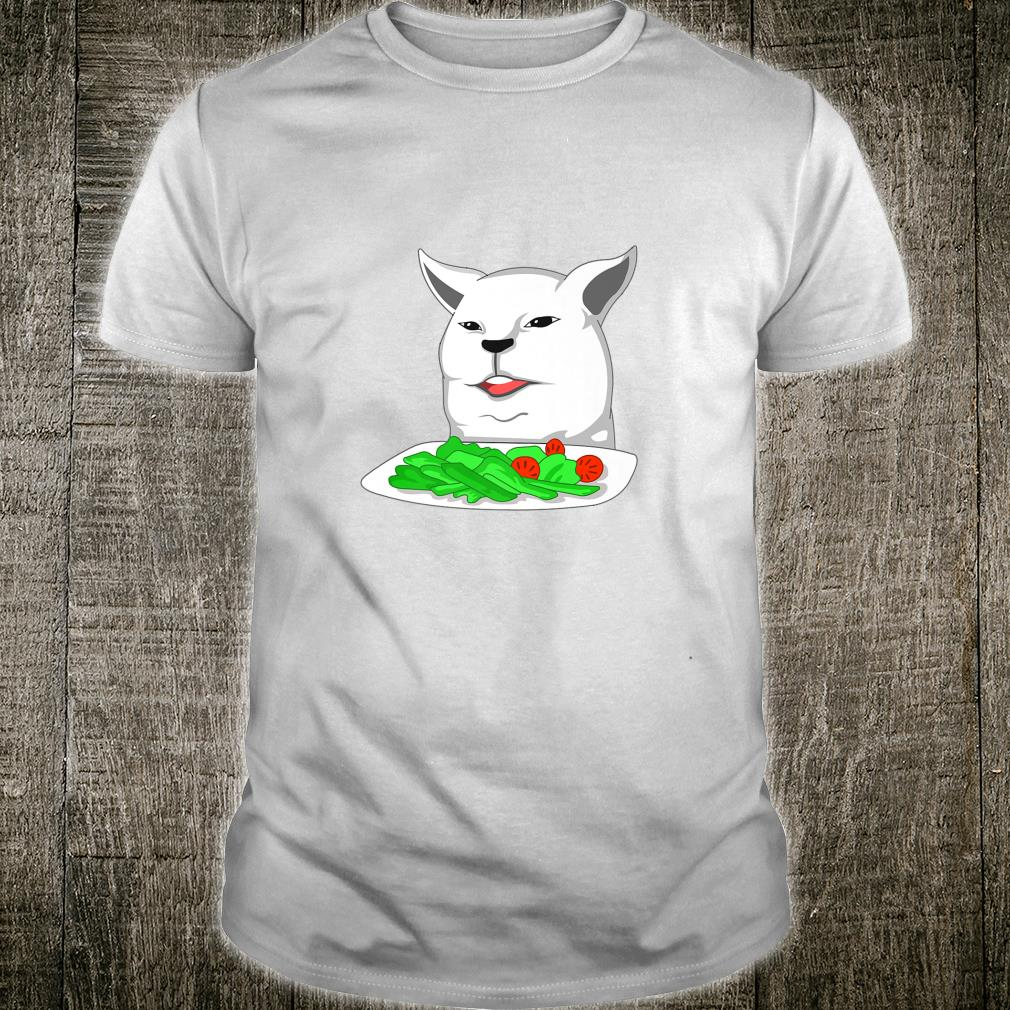 Angry yelling at confused cat at dinner table meme Shirt