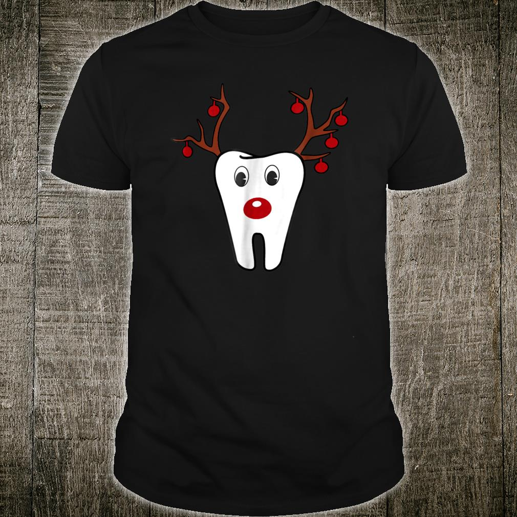 Antlers Red Nose Holiday Tooth Reindeer Shirt