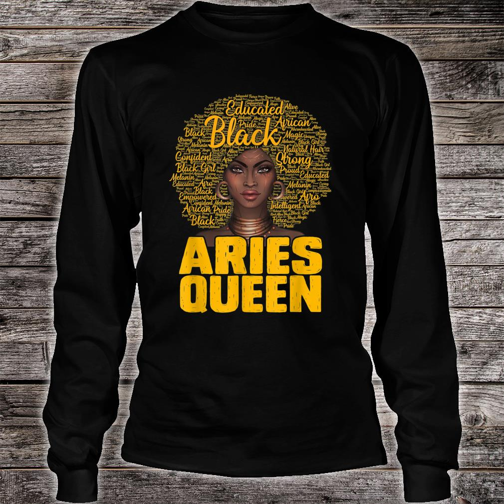 Aries Queen Black Afro Natural Hair African American Shirt long sleeved