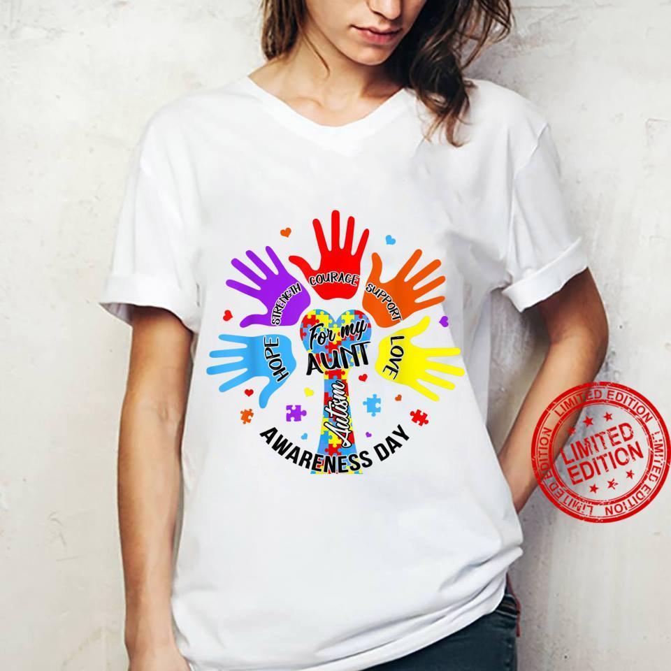 Autism Awareness Aunts Hands Love Hope Support Shirt ladies tee