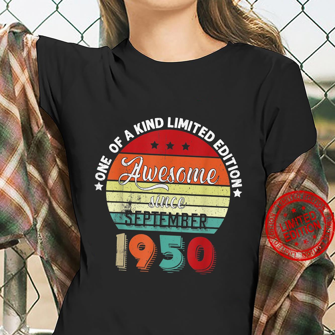 Awesome Since September 1950 Vintage Retro Bday Shirt ladies tee