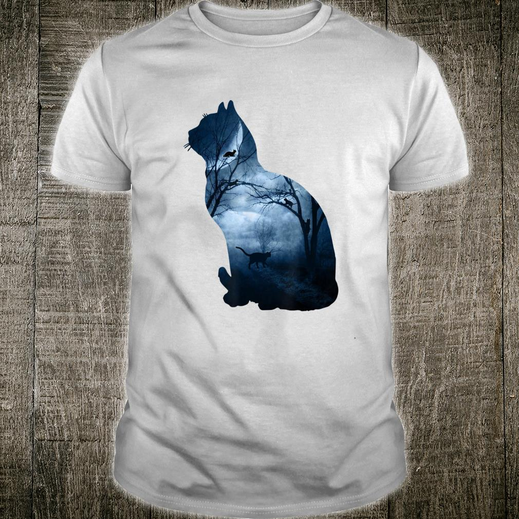 Beautiful Cat Art Design With Cat Silhouette and the Moon Shirt