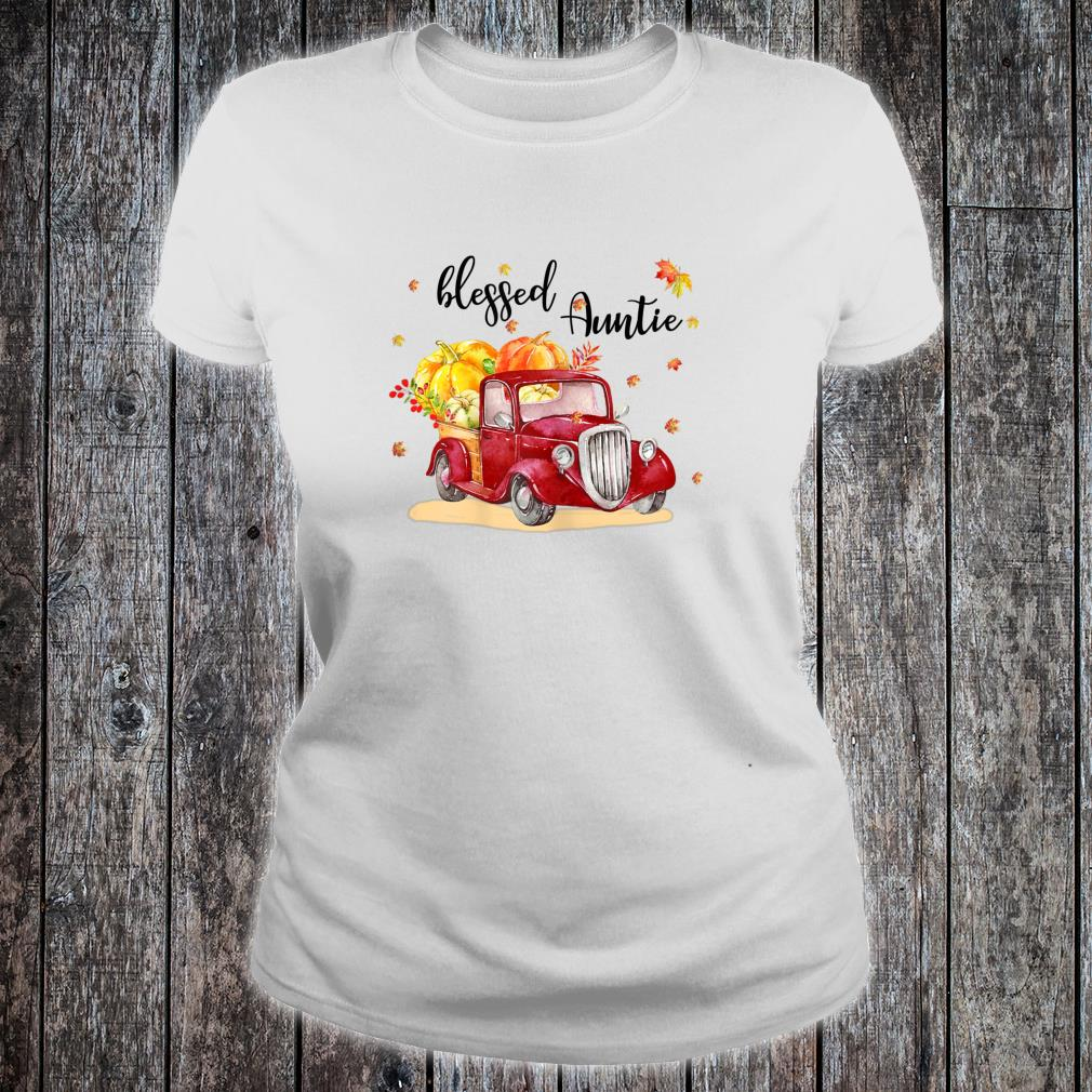 Blessed Auntie Red Truck Holding Pumpkin Fall Autumn Shirt ladies tee
